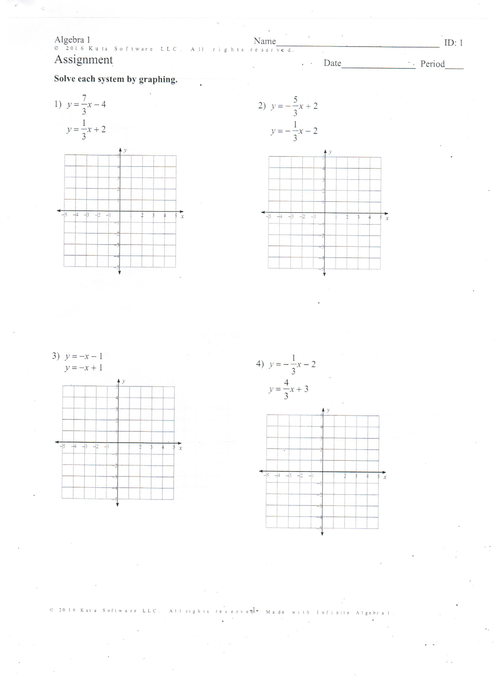 Worksheets Algebra 1 Graphing Worksheets bobby daniels bainbridge high school graphing systems